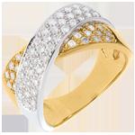 vente Bague tandem pavée - 0.8 carats - 57 diamants - or blanc et or jaune 18 carats