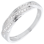 cadeau femmes Bague tresse précieuse or blanc et diamants