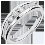 cadeau femmes Bague trilogie abîme or blanc - 3 diamants