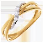 acheter en ligne Bague trilogie cerceau or jaune-or blanc - 3 diamants