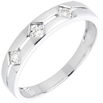Bague Trilogie Losanges or blanc 18 carats et diamants