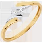 Bague Trilogie Nid Précieux - Mélodie - diamant 0.04 carat - or blanc et or jaune 18 carats