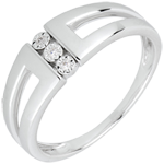 bague trilogie Selma or blanc 18 carats et diamants