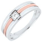 bijou or Bague Triple rangs or rose or blanc - diamant 0.062 carat