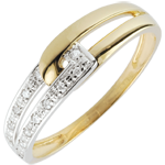 Bague Union d'harmonie bicolore - or blanc et or jaune 9 carats
