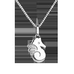 Bel cavalluccio marino - modello grande - Oro bianco - 9 carati - Diamante