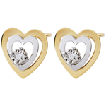 Bi-colour Gold Boudoir Heart Earrings
