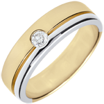 gifts women Bi-colour Gold Diamond Olympia Wedding Band - Large Model - 18 carats