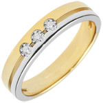 gifts Bi-colour Gold Olympia Trilogy Wedding Band - Small Model - 18 carats