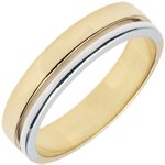 Bi-colour Gold Olympia Wedding Band - Average Model - 18 carats