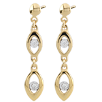 Bi-colour Gold Peacock Charm Earrings - 18 carats