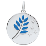 gift women Blue Lacquer Olive Branch Medal with 4 diamonds - 18 carats