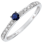 jewelry Boreal Solitaire Engagement Ring - 0.12 carat sapphire and diamonds - white gold 9 carats