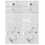 vente en ligne Boucle d'oreilles Coeurs pendules - or blanc