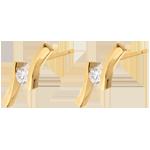 ventes en ligne Boucles d'oreilles apostrophe diamants - puce or jaune - 0.19 carat