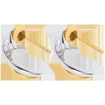Boucles d'oreilles l'aventure à deux - or blanc et or jaune 18 carats