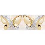 Boucles d'oreilles Balade Imaginaire - Papillon Cascade - or blanc et or jaune 9 carats et diamants