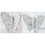 Boucles d'oreilles Balade Imaginaire - Papillon Musicien - or blanc 9 carats