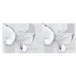 Boucles d'oreilles Balade Imaginaire - puces Papillon Cascade - or blanc 9 carats et diamants
