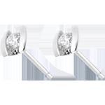 Boucles d'oreilles caldera - puces diamants or blanc 18 carats - 0.21 carats