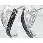 vente Boucles d'oreilles Clair Obscur - Mouvement - or blanc diamants, blancs et diamants noirs