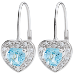 Boucles d'oreilles Coeur Enchantement - topaze bleue - or blanc 18 carats