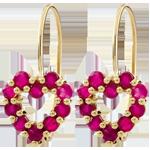 Boucles d'oreilles Coeur Rosie - rubis - or jaune 9 carats