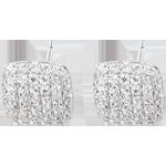 cadeau Boucles d'oreilles Coussins diamants or blanc 18 carats