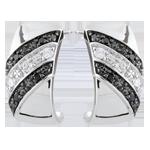 mariage Boucles d'oreilles créoles Clair Obscur - Crépuscule - diamants noirs - or blanc 9 carats