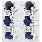 Boucles d'oreilles créoles Clarisse - saphirs or blanc 9 carats