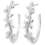 vente Boucles d'oreilles créoles Jardin Enchanté - Feuillage Royal - or blanc et diamants - 18 carats