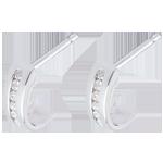 cadeau boucles d'oreilles demi-lunes pavées - or blanc - 12 diamants