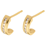 boucles d'oreilles demi-lunes pavées - or jaune 18 carats - 12 diamants