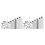 cadeau femme Boucles d'oreilles diamants - puces or blanc 18 carats 0.15 carat