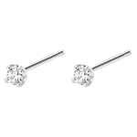 Boucles d'oreilles diamants - puces or blanc 18 carats 0.15 carat