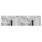 cadeau femmes Boucles d'oreilles diamants - puces or blanc 18 carats - 0.25 carat