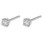 Boucles d'oreilles diamants - puces or blanc 18 carats - 0.3 carat