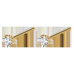 Boucles d'oreilles diamants - puces or jaune 18 carats 0.15 carat