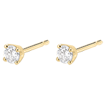 Boucles d'oreilles diamants - puces or jaune 18 carats - 0.25 carat