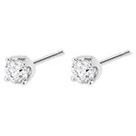 bijou Boucles d'oreilles diamants (TGM+) - puces or blanc - 0.5 carat