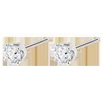 achat on line Boucles d'oreilles diamants (TGM+) - puces or blanc 18 carats - 0.5 carat