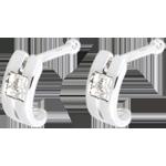 Boucles d'oreilles Double rang or blanc 18 carats et diamants