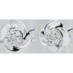 joaillerie Boucles d'oreilles Éclosion - Pétales de Rose - or blanc 18 carats