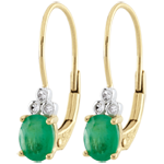 Boucles d'oreilles Exquises - émeraudes et diamants - or jaune 9 carats