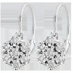 ventes en ligne Boucles d'oreilles Fraicheur - Fleur de Flocon - 14 diamants et or blanc