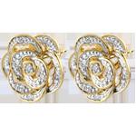 achat Boucles d'oreilles Fraicheur - Rose Dentelle - or blanc, or jaune et diamants