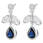 Boucles d'oreilles Hesmé - saphirs et diamants - or blanc 9 carats