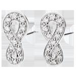 Boucles d'oreilles Infini - or blanc 9 carats et diamants