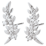 ventes on line Boucles d'oreilles Jardin Enchanté - Feuillage Royal - or blanc et diamants - 18 carats