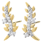femme Boucles d'oreilles Jardin Enchanté - Feuillage Royal - or jaune 9 carats et diamants